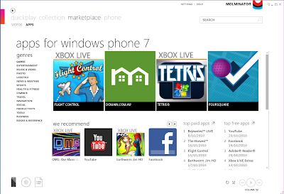Windows Phone market place on Zune
