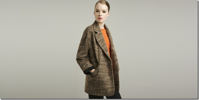 zara tweed winter coat and orange blouse fashion