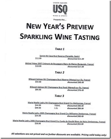 USQ Sparkling Wines Tasting Menu