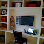 Bedroom wall to wall desk & dresser unit - left side. The unit stretched up to meet the ceiling..