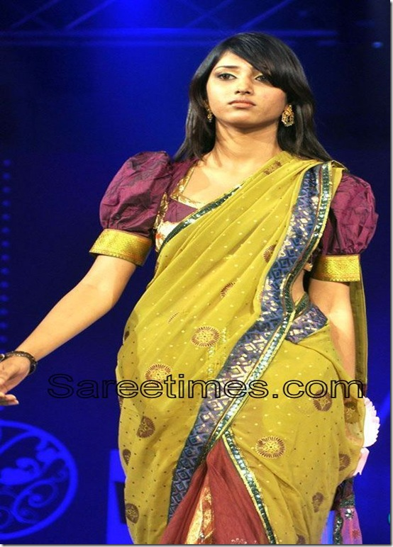 Yellow_Ebellished_Silk_Designer_Saree