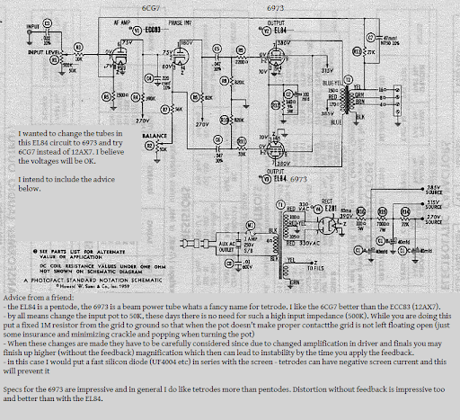 el84 schematic to 6973 or schematic to ampex 6973 eeehaah tube el84 tube data hi all, i'm posing the idea of changing the tubes in this old el84 schematic to 6973