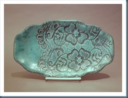 Beautiful ceramic platter turqoise blue elegant lace pattern