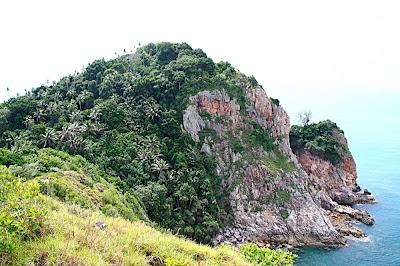 Les falaises à l'est de l'ile