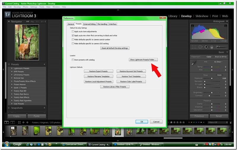 show presets folder
