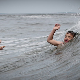 Tsunami Suprise by Blaine Linton - Babies & Children Children Candids ( waves, boys, play, ocean, fun, beach, kids )
