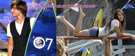 Zac Efron y Miley Cyrus en Gidget