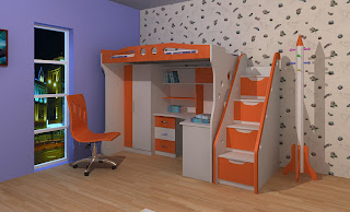 Child's bed-storey, stairs on the side