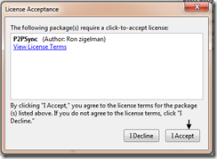 Add library package reference dialog - licence