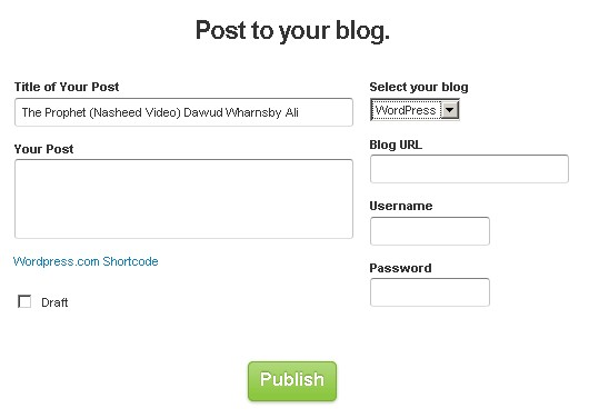 Embed or post any video to your blog in one click from anywhere