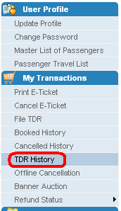 Click on TDR History