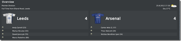 Leeds - Arsenal 4:4, cheerful game in FM10