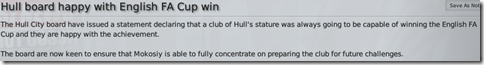 Hull board happy with English FA Cup win
