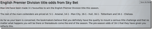 Premier League title odds from Sky Bet