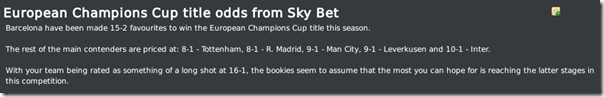 Champions League odds by Sky Bet, FM 2010