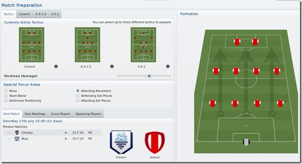 Match Prepartion in Football Manager 2010