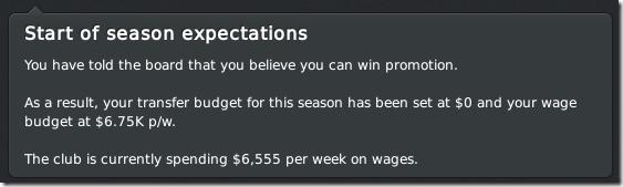 Season expectations, Boston United