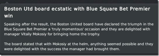 Boston United board estatic with the title