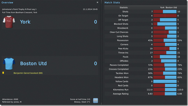First JPT match against York, FM 11