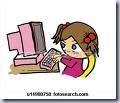 Girl at Pink Computer