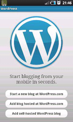 Wordpress mobile app screenshot