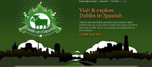 Dublín en Español - Inspiring cityscape in web design example