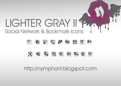 Lighter Gray Social Network and Bookmark Icons