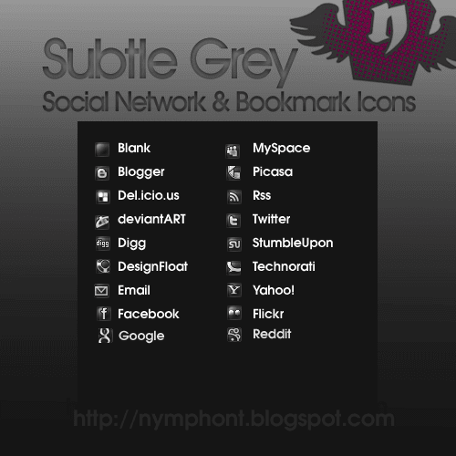 Subtle Grey Social Network and Bookmark Icons