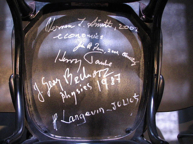 Chair signed by laureate Georg Bednorz at the Nobel Museum