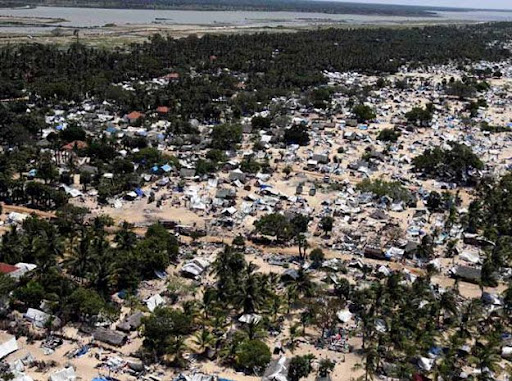 The abandoned devastation is seen in this aerial photo showing part of the former conflict zone on the north east coast on the Jaffna peninsula of Sri Lanka, Saturday, May 23, 2009. Many thousands of Tamil people were displaced over the final months of fighting, leaving some areas largely deserted, with displaced people being housed in tented camps. (AP Photo/Kirsty Wigglesworth)