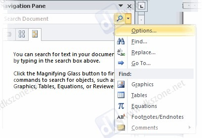 Word 2010 search context menu