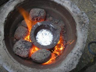 Molten aluminium in the crucible