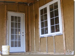 mudroom door and dining area window