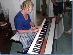 Eileen France playing the Korg SP250