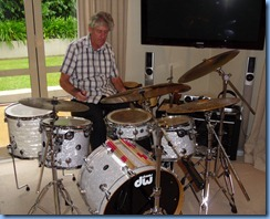 Ian Jackson absorbed in his drumming
