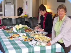 Delyse Whorwood and Pauline Beales (right) preparing the 'banquet'