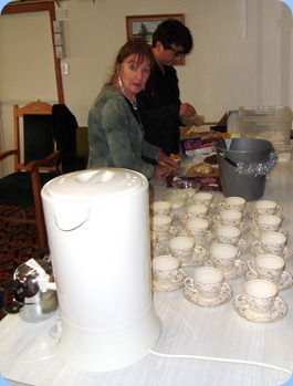 Delyse busy getting the refreshments organized.