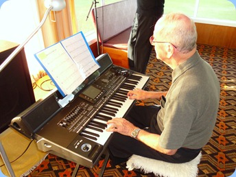 John Beales fighting the sunshine streaming in from the window. John played the Korg Pa3X very nicely as always.