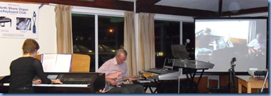 Denise and Brian Gunson playing the Clavinova and electric guitar as a duet