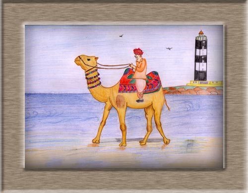 Color Sketch of A Camel on Dwarka Beach