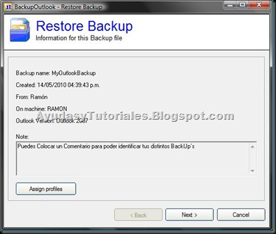 BackupOutlook - Restore Backup Entry 3 - AyudasyTutoriales