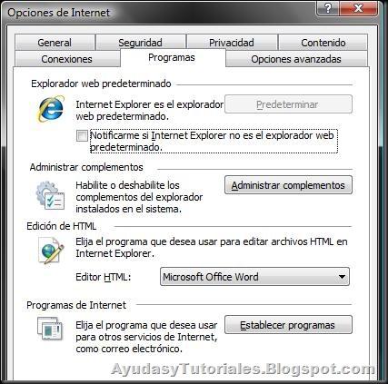 Pestaña Programas - Opciones de Internet
