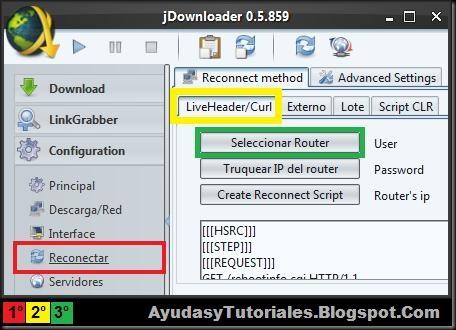 Seleccionar Router - JDownloader