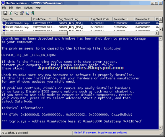 Blue Screen View - AyudasyTutoriales