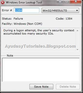 Windows Error Lookup Tool - AyudasyTutoriales