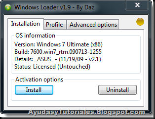 Windows 7 Loader v1.9 by Daz - Installation - AyudasyTutoriales