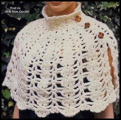 Xale Capinha Croche. . Crochet Capelet Shawl - Pink Rose