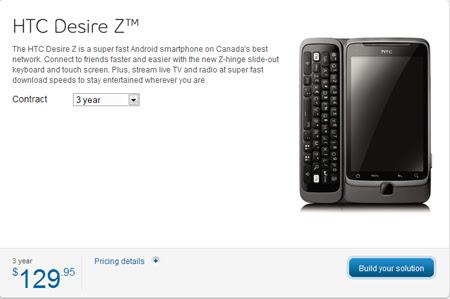 HTC Desire Z on Bell