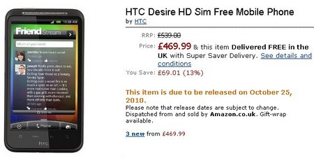 HTC Desire HD On Amazon UK