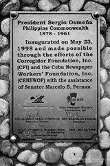 The Inscription Under President Sergio Osmena in Corregidor